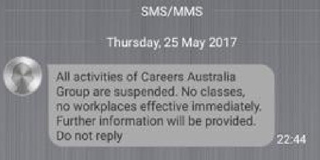 reers Australia tells students their courses are suspended in a late-night text message.