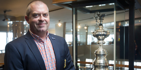 yal New Zealand Yacht Squadron general manager Hayden Porter stands with the America's Cup in its secure case at the squadron in Westhaven. Photo/Nick Reed