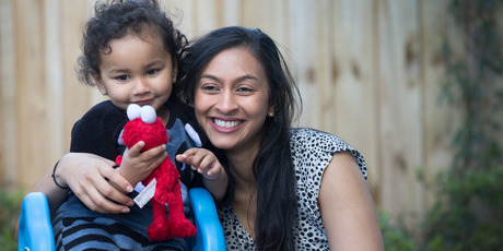 nam Sharma, a young solo mother who is fighting with immigration for her mother to visit from Fiji and meet her grandson, Aryon. Photo / Nick Reed