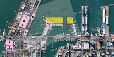 e Viaduct Harbour Holdings plan moves the Team New Zealand base from Hobson Wharf to Halsey Wharf. Photo / Supplied
