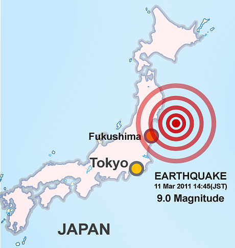 Japan map: earthquake March 11 2011